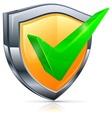 Check mark on shield vector image vector image