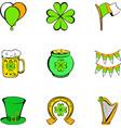patrick day icons set cartoon style vector image