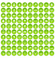 100 network icons set green circle vector image vector image