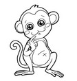 cartoon cute monkey coloring page vector image
