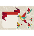 Origami hummingbird group greeting card vector image
