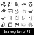 Technology icon set 8 gray icons on white vector image