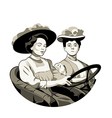Vintage driving women vector image