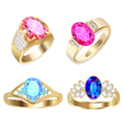 ring set with precious stones vector image