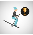 ski male trophy sport design vector image
