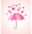 Paper hearts and umbrella vector image vector image