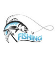 fish jumping for bait silhouette vector image vector image