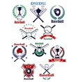 Baseball heraldic emblems or badges with vector image vector image