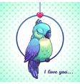 Cute cartoon blue bird vector image