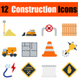 Flat design construction icon set vector image