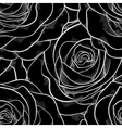 black and white seamless pattern in roses contours vector image