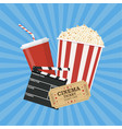 clapperboard and popcorn and ticket movie vector image