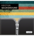 Retro abstract background with realistic zipper vector image