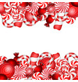 sweet banner with lollipop and candies cane vector image