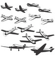 set of aircraft icons isolated on white vector image