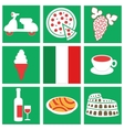 collection of icons about italy flag food vehicle