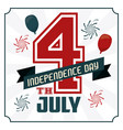 4th july independence day card with american flag vector image