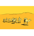 Camel caravan in the desert vector image vector image