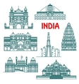 Architectural heritage of India linear icons vector image