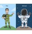 Astronaut And Pilot Characters vector image