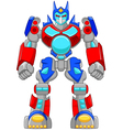 Cartoon strong robot and colorful vector image