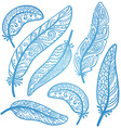 colored feathers set vector image