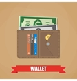 Opened wallet with cash vector image