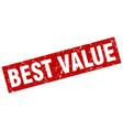 square grunge red best value stamp vector image