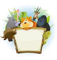 wild animals zoo wood sign vector image