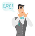 young caucasian groom laughing out loud vector image