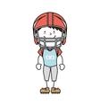 boy cartoon helmat american football isolated vector image