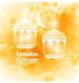 Watercolor yellow blob Ramadan kareem vector image