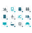 stylized hotel and motel room facilities icons vector image vector image