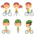 bicycle rider girls vector image vector image