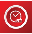 24h workhours icon on red vector image