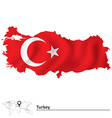 Map of Turkey with flag vector image
