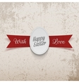 Easter realistic paper Egg Label on red Ribbon vector image