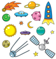 cartoon space objects vector image