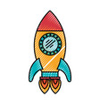 Colored crayon silhouette of space rocket with two vector image