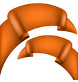 set of glossy orange ribbons on a white background vector image
