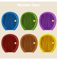 Cartoon Wooden Colorful Rounded Door For vector image