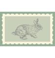 Vintage hand drawing rabbit vector image