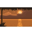 Sunset On The Beach Over The Water Landscape vector image