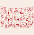 Advent calendar with christmas bags set advent vector image