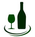 wine bottle with glass and decorative lines vector image