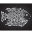 Hand drawn fish with floral elements vector image