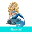 Mermaid girls with blond hair sitting on the stone vector image