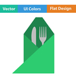 Icon of fork and knife wrapped in napkin vector image vector image