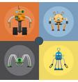 cartoon mechanical steel robots set vector image