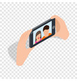 couple taking selfy of themselves isometric icon vector image